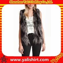 Custom stylish winter warm fitness low price acrylic/polyester faux rabbit fur vest for women