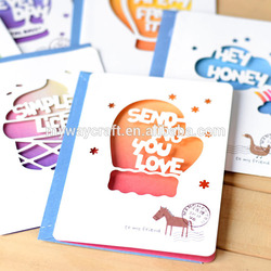 New product honey colorful lovely hollow out paper gift card with envelope