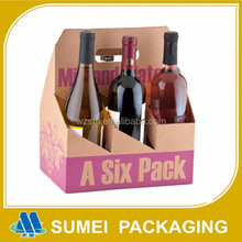 Factory custom beer box cardboard for 6 pack bottle beer carriers