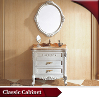 HS-G738 very small apartment bathroom cabinets/ oak bathroom cabinet with marble countertop