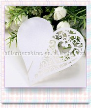 Wedding White Decorations Heart Shape Place Cards for Wine Glass