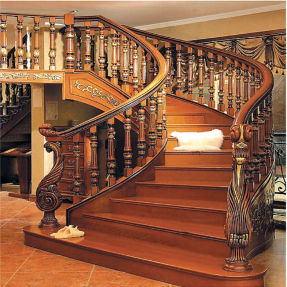 escaleras de caracol de madera de interior de lujo con wroughtly tallada stringer