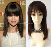 """Wholesale Stock 8""""-24"""" 100% Indian remy Human hair glueless front lace wig with bang"""