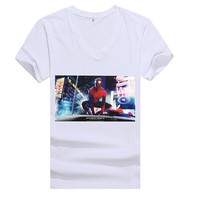 Free Sample ! t shirt men 100%cotton Spandex summer white v-neck fashion print pattern brands t-shirt mens T-shirt size M-5XL