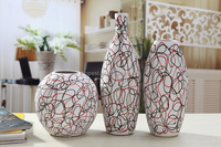 modern decoration vase family set ceramic vase /black and red lins mix color vase