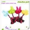 Finger with cotton rope plush squeaker pet toy,pet product from China Factory wholesales