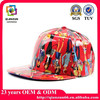 Flat print logo custom leather snapback cap