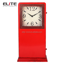 Quartz metal floor standing clock with plastic bottom plate