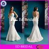 ST771 Sexy Sleeveless Low Back Ruffled Appliqued Beaded Sheath Floor Length White Sexy Wedding Dress