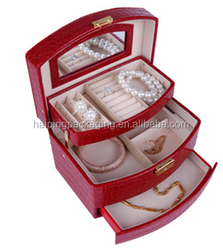 Red Crocodie Fashion Case wholesale Gift Jewelry PU Leather Jewelry Case/Travel Jewelry Case with mirror Made In China