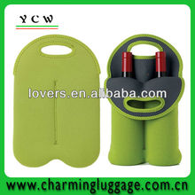 Insulated double wine neoprene tote bag cooler bag