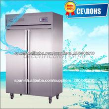 heladera de cocina dos puertas cocina congelador comercial refrigerador acero inoxidable 201#