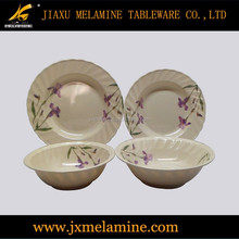 tea color round wavy melamine tableware dinner set