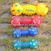 Hot sell ! 15CM colorful plastic squeaky dumbbell dog toys for pets
