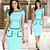 2015New Arrival Eelegant Knee Length Pocket Cute Casual Brief Bodycon Pencil Dress For Women Work Wear Career PW-016