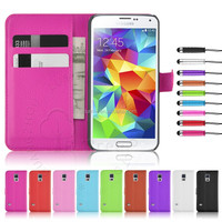 Popular Leather Case Colorful Wallet PU Stand Case For Samsung Galaxy S5