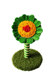 faux grass Sunflower Sisal Scratching Post Cat Toy