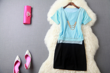 free delivery Special Factory Price Blue and Black Polyester Short Sleeves Round Neck girls Cocktail dress design