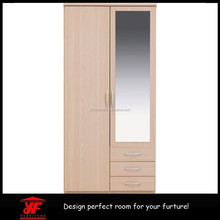Cheap IKEA Wooden Designs Bedroom Solid Wood Wardrobe with Mirror