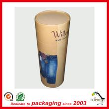 Environment Friendly custom Elegant Kraft cylinder cardboard paper tube box for clothes jeans/ t shirt