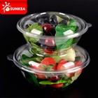 Tigela de salada plástica descartável com tampa