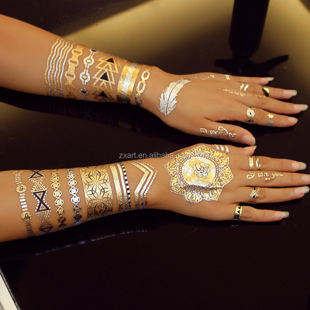 paper printing body tattoos temporary gold sticker jewelry