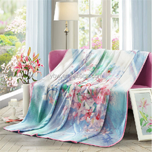 home textile stock lot 2015 new spring and summer floweer printed blanket bed sheet