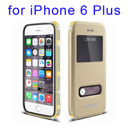 LOVE MEI Star Line 24K Gold Plated Metal Cover + Removable Leather Case for iPhone 6 Plus