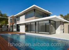 modern prefab villa with glass windows