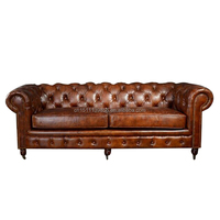 Chesterfield french style brown leather sofa, antique furniture,antique sofa
