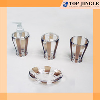 Line design clear and brown plastic bath accessories sets