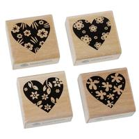 "Wood Seal Stamper Square Shape Natural Black Heart Flower Pattern Carved Stamp 40.0mm(1 5/8"") x 40.0mm(1 5/8""), 1 Set"