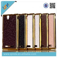 QinD electroplate gold frame pc case for sony xperia c s39h c2305, case for sony xperia c case back cover