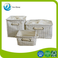 home interior decoration 100% cotton canvas laundry basket with cotton cover