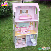 New and popular Wooden Doll House,wholesale kids Wooden toy Doll House,hot sale children diywooden doll house W06A005-A1