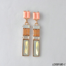 Jelly color gems gold platting chandelier earings candy color jewelry