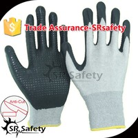 SRSAFETY 13Gauge knitted liner nylon and HPPE and glassfibre liner coated foam nitrile, dots on palm