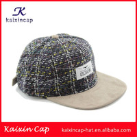 OEM tweed snapback hat & cap with custom embroidery applique logo /suede brim/woven tag (High quality)