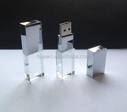 8GB USB 2.0 Crystal Transparent & Blue LED Flash Memory Stick Pen Drive