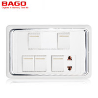 5 Gang 1 Way Switch 1 Socket, Electrical Sockets and Switches with Neon,Pakistan Type