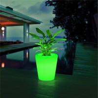 Waterproof IP54 PE plastic recharging glowing outdoor solar illuminated led planters
