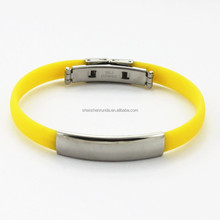 Wholesale Fashion 2015 Jewelry Stainess Steel Blank Plate Charm Bracelet Men Silicone Wristband Rubber Bracelet