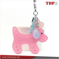 Cute dog Style Reflective Silver + pink Acrylic Keychain ,Hot Selling Souvenirs Real Bug Scorpion Acrylic Keychain