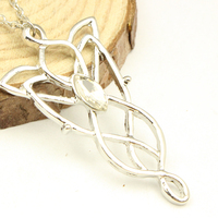 Epics Movies Role Arwen's Silver Crystal Necklace For Fashionable Evenstar Chain Necklace