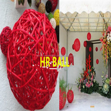 Indoor decorations Christmas rattan and colorful balls/round rattan Christmas balls