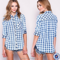 cheap wholesale summer clothes feminine shirt long sleeve cotton boyfriend plaid shirt for women