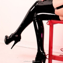 Sexy Lingerie Women's Clothing Underwear Wet Look Thigh High Stockings Costume Black Leather Outfit