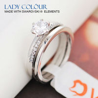 A0099 Wedding Crystal Zircon Twins Ring Zinc Alloy 18K Imitation Rhodium Plated With Austria Crystal Fashion Jewelry Wholesale