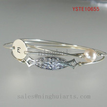 Bridesmaid Bangle Set Art Deco Filigree Personalized Bangle and Round Pearl Silver Bracelet for 2015