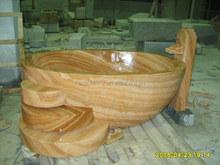 Wholesale Yellow Wooden Marble Bathtub Surround